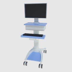 3d model medical computer cart -