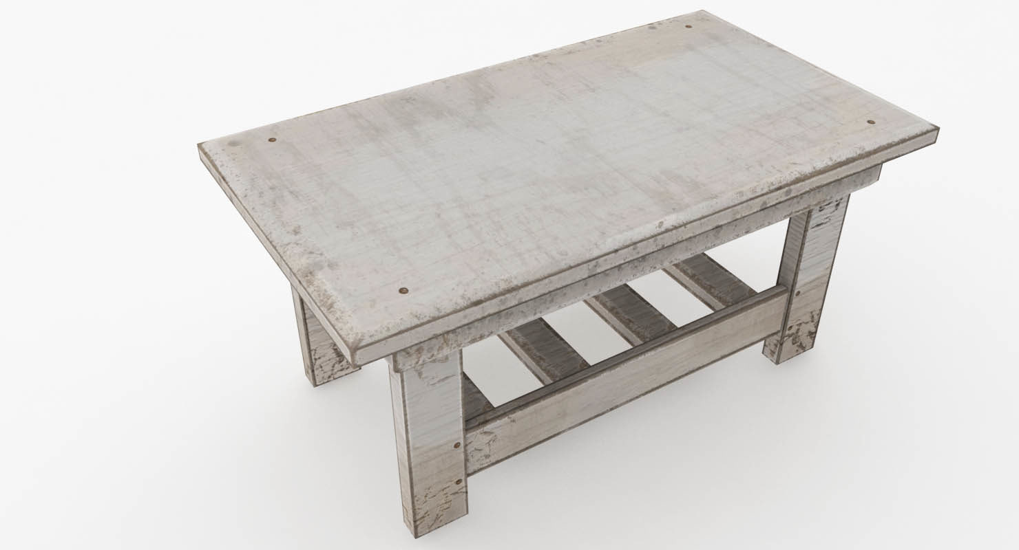 free old painted table 3d model