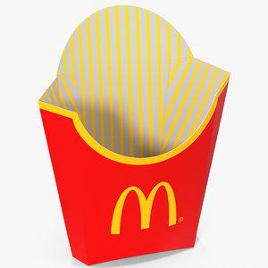 3d model of french fry box mcdonalds