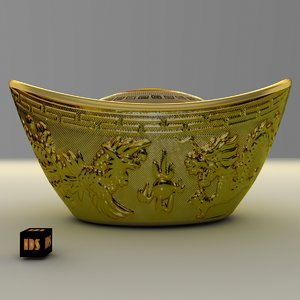 3d model chinese gold ingot