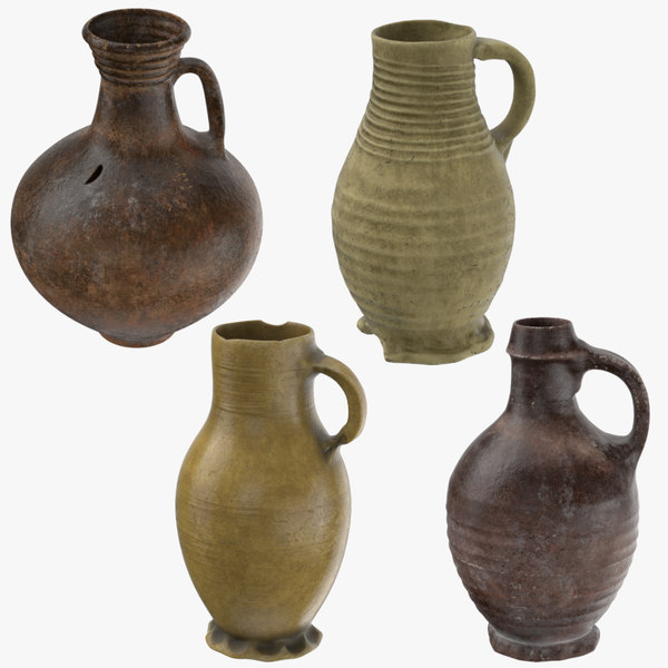ceramic wine jugs 3d model