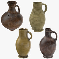ceramic wine jugs 3d model