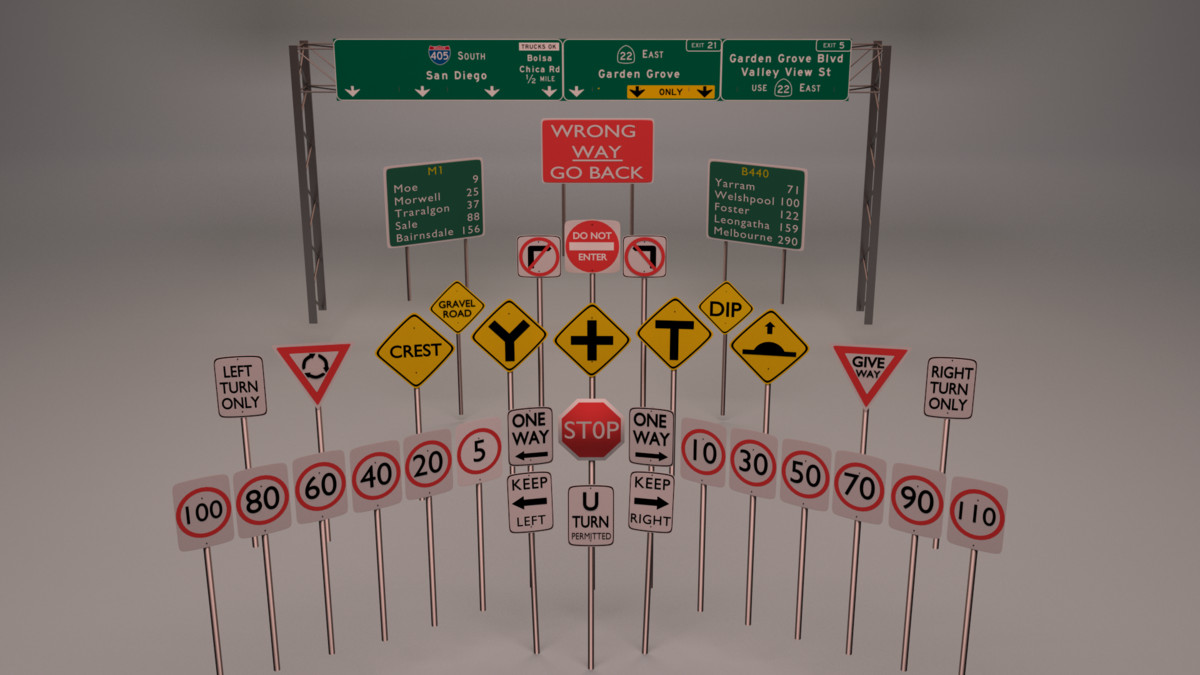 36 traffic signs road 3d model
