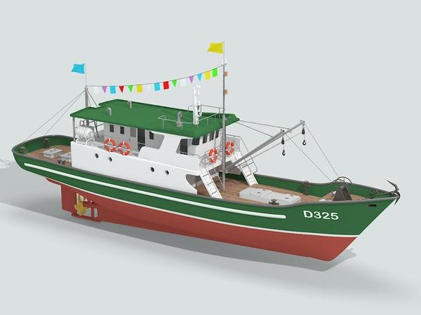 boat fishing obj