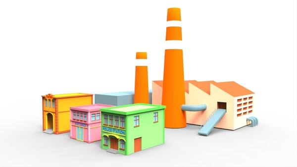 3d model town building cartoon