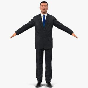 european businessman hair modeled 3d model