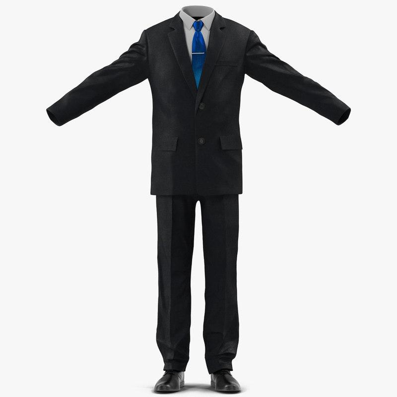 suit men classic modeled 3d model