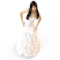 3d model v-ray wedding evening dress