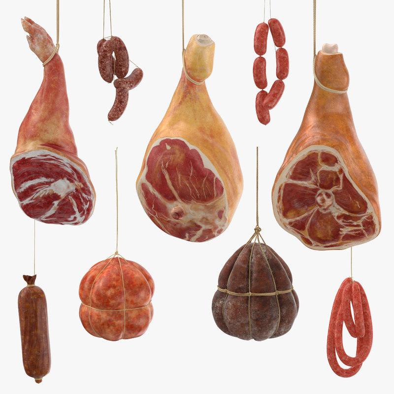 hanging sausages hams 3d max