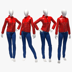 set female winter jackets 3d max