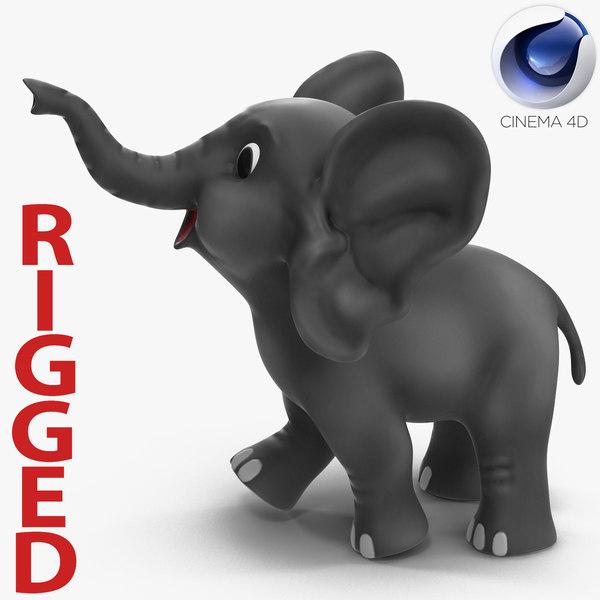 3d model cartoon elephant rigged