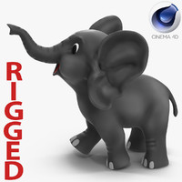 Cartoon Elephant Rigged for Cinema 4D