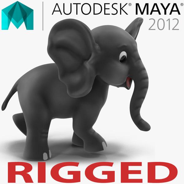 cartoon elephant rigged 3d model
