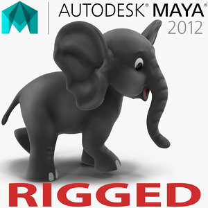 cartoon elephant rigged 3d model
