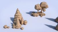 paper trees bushes 3d 3ds