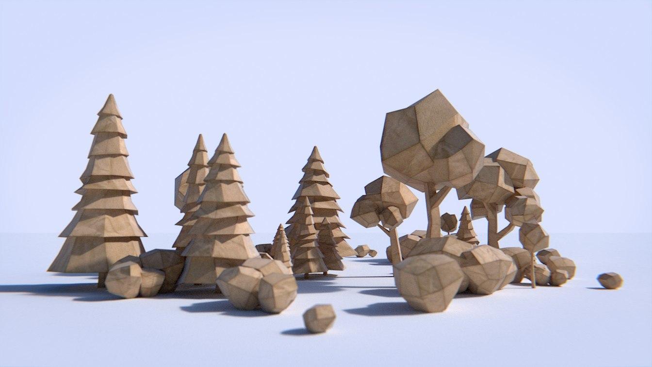 paper trees bushes 3ds