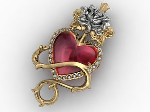 rose heart pendant obj