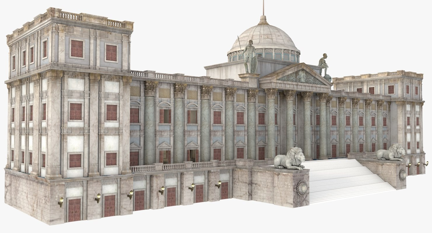 european romantic palace 3d model