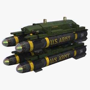 3d model agm-114 hellfire missile
