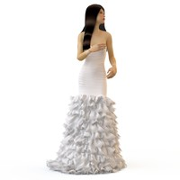 3d v-ray wedding evening dress