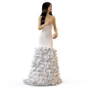 3d v-ray wedding evening dress