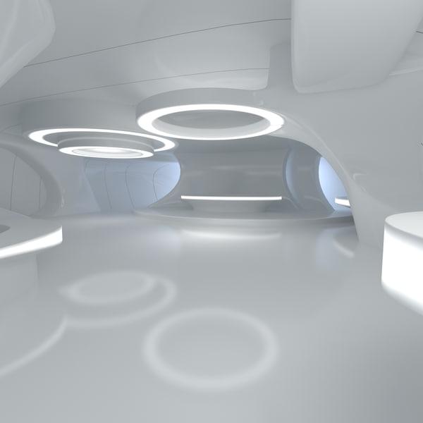 3d sci-fi futuristic room design