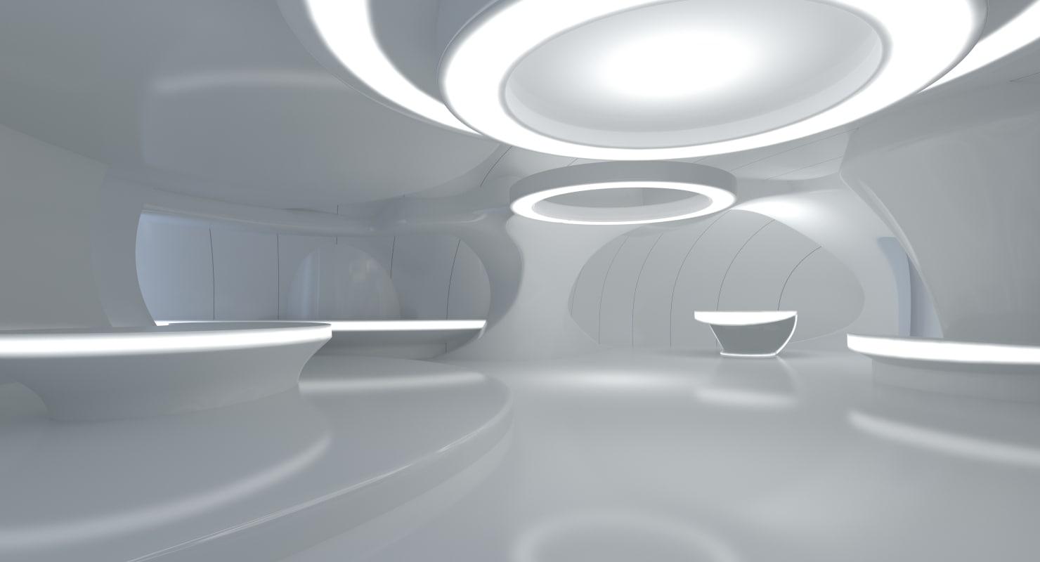 3d sci fi futuristic room design