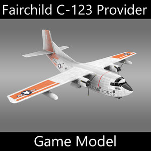 3d model fairchild c-123 provider military transport