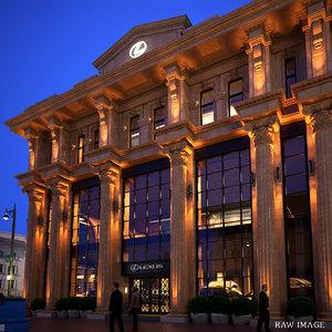 scene classic building exterior 3d max