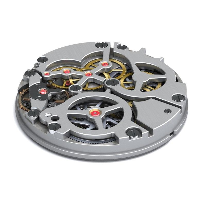 3d model watch mechanism