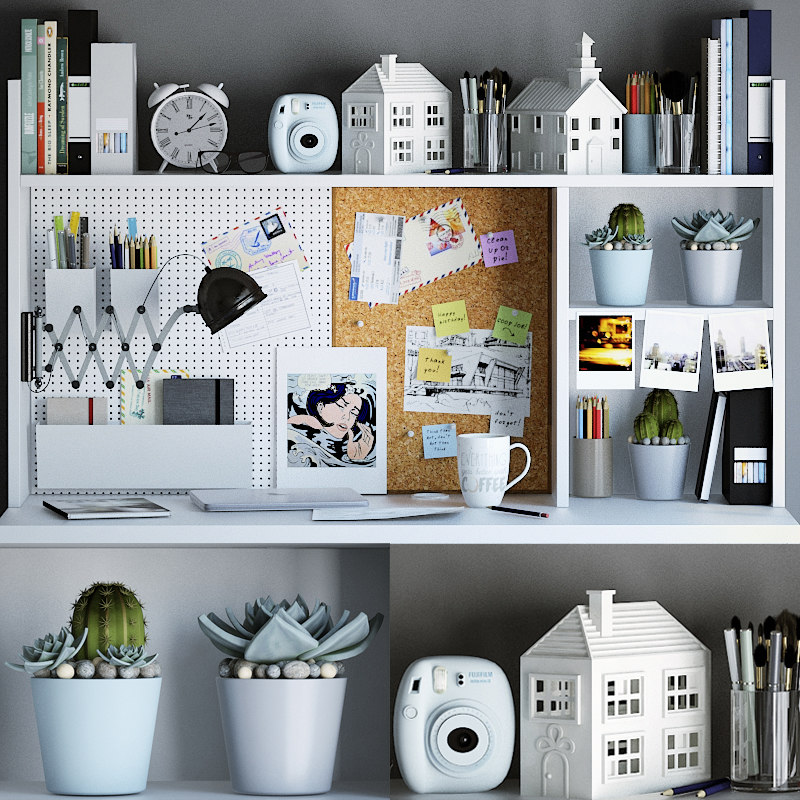 3d max workspace decor set