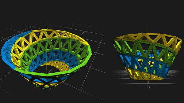 vortex triangular truss 3d obj