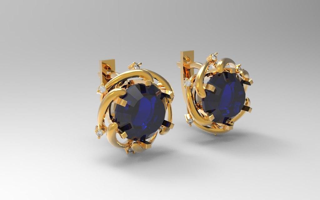 3d obj jewel earring