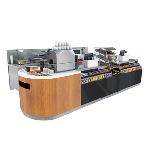 3d model cafe shop counter
