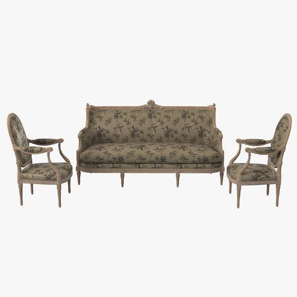3d model victorian furniture set