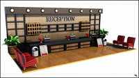 reception hotel desk 3d obj