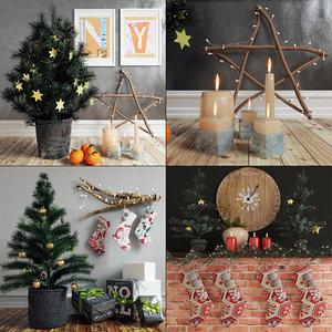 3d model fir-tree new year set