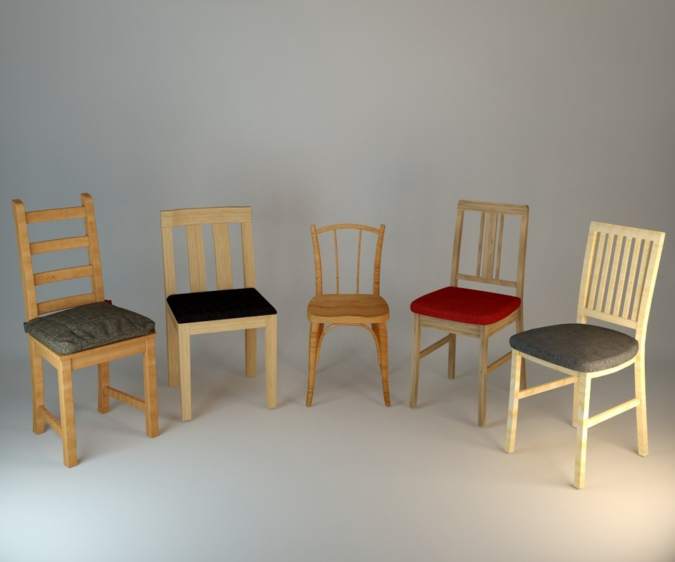 set wood chair 3ds