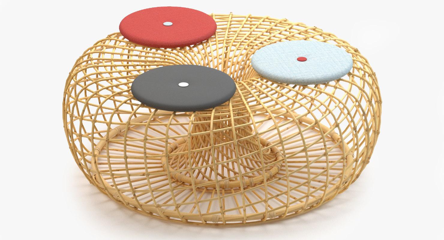 cane-line nest large footstool 3d model