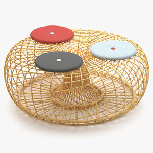 cane-line nest large footstool 3d model