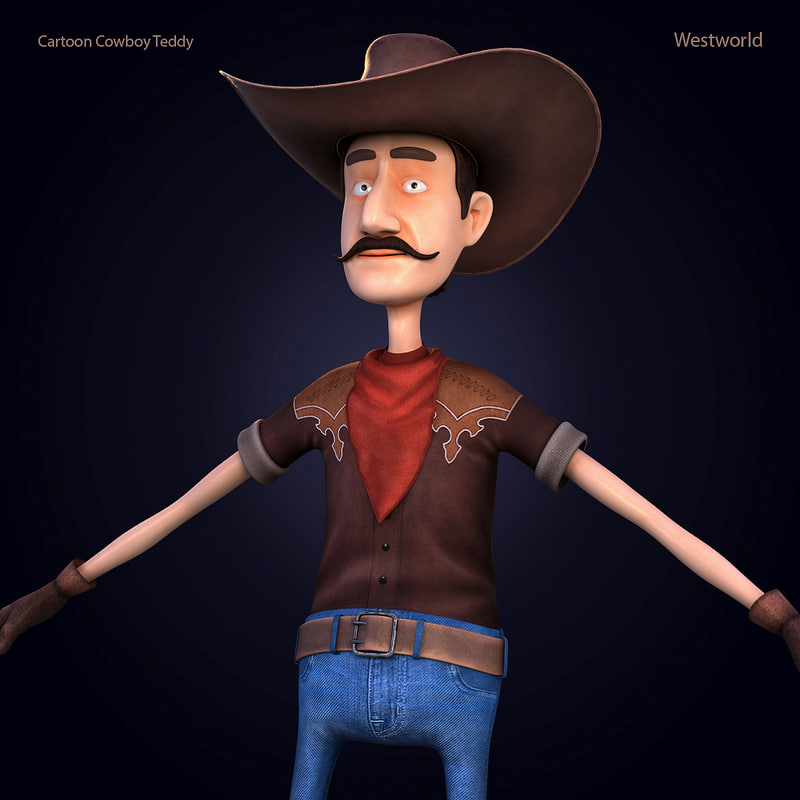 3d cartoon cowboy teddy model