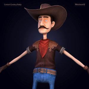 3d cartoon cowboy teddy model