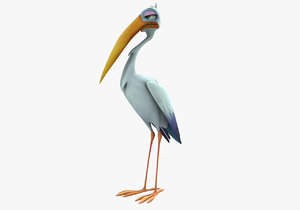 3d stork cartoon model