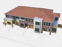 neighborhood townhouses houses 3d model