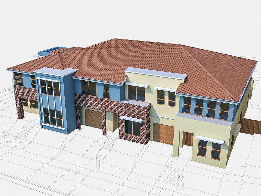 3d neighborhood townhouses houses model