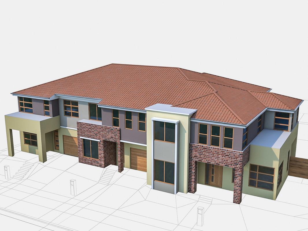 3d model neighborhood townhouses houses