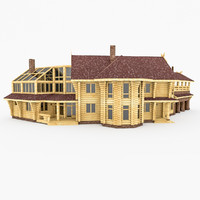3d model wood bar house