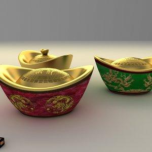 chinese gold ingot 3d obj