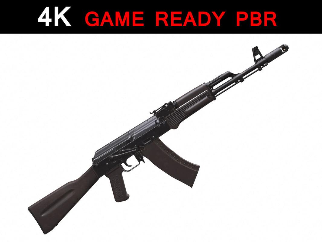 ak-74 100 assault rifle 3d model