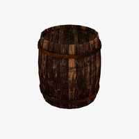 3d wooden barrel